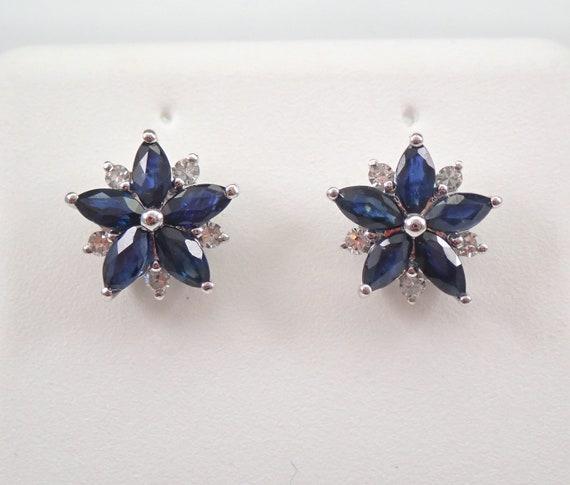 White Gold Sapphire and Diamond Stud Earrings Flower Studs September Birthstone