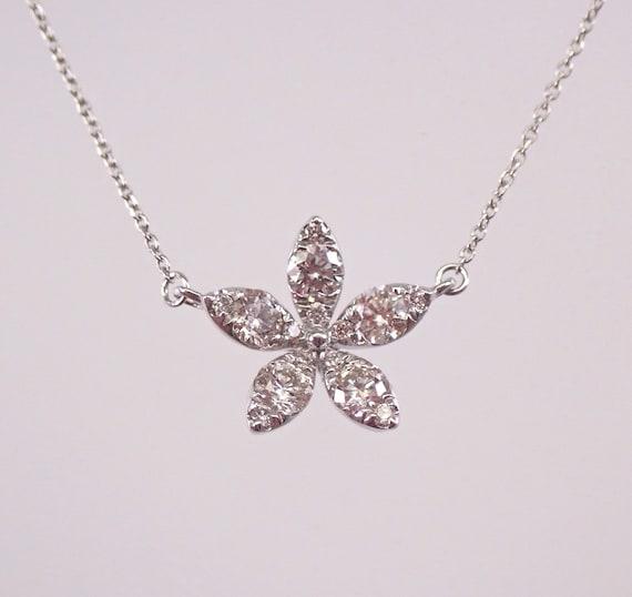 "14K White Gold Diamond STAR Cluster Pendant Snowflake Necklace 18"" Chain"