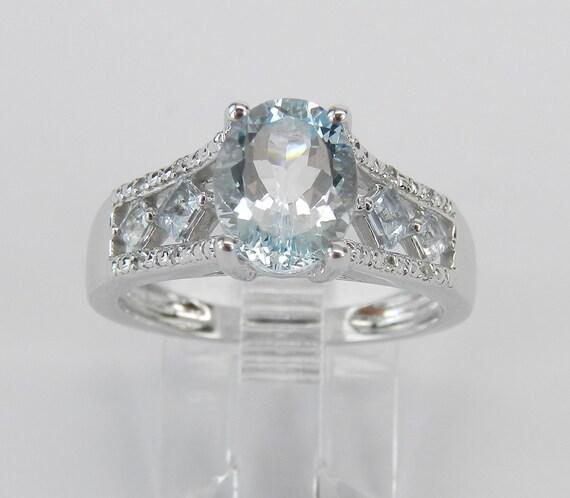 Diamond and Aquamarine Engagement Ring Aqua Promise White Gold Size 7 March Gem