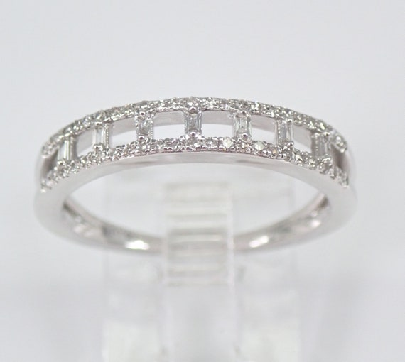 Baguette and Round Diamond Wedding Ring Anniversary Band White Gold Sizable Size 7 FREE SIZING