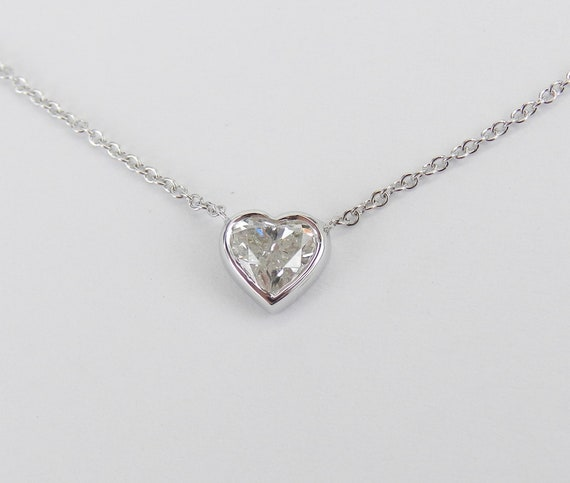 "14K White Gold Heart Diamond Solitaire Pendant Necklace 17"" Chain Bezel Set Wedding Gift"