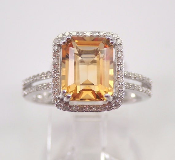 Diamond and Emerald Cut Citrine Halo Engagement Ring White Gold Size 7 November Birthstone FREE Sizing