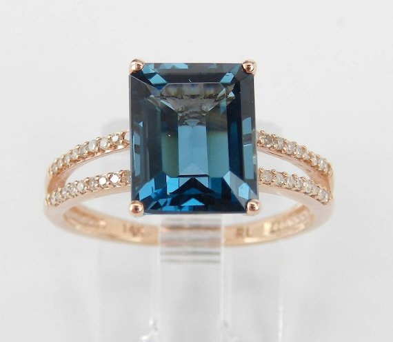 London Blue Topaz and Diamond Engagement Ring Emerald-Cut Solitaire 14K Rose Gold Size 7