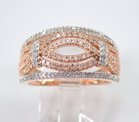 Rose Gold 3/4 ct Diamond Wedding Ring Multi Row Anniversary Band Size 7 FREE Sizing