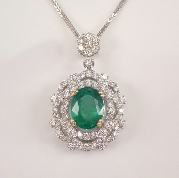 "18K White Gold 5.80 ct Emerald and Diamond Halo Pendant Necklace 20"" Chain May Gemstone"