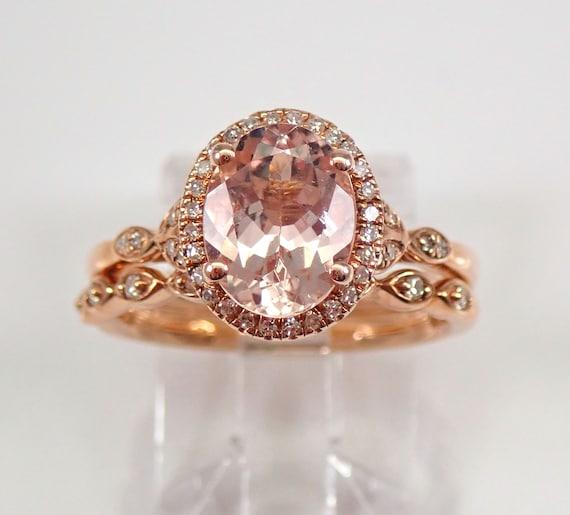 Rose Gold Diamond and Morganite Halo Engagement Ring Wedding Band Set Size 6 FREE Sizing
