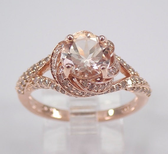 1.70 ct Morganite and Diamond Engagement Ring 14K Rose Gold Size 7 Unique Design FREE Sizing