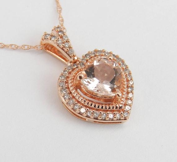 "Rose Gold Diamond and Heart Morganite Halo Pendant Necklace 18"" Chain"