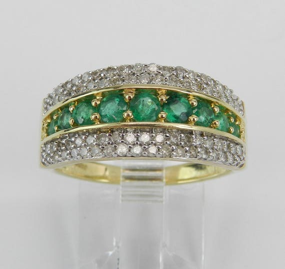 Diamond and Emerald Anniversary Band Wedding Ring Yellow Gold Size 6 May Birthstone