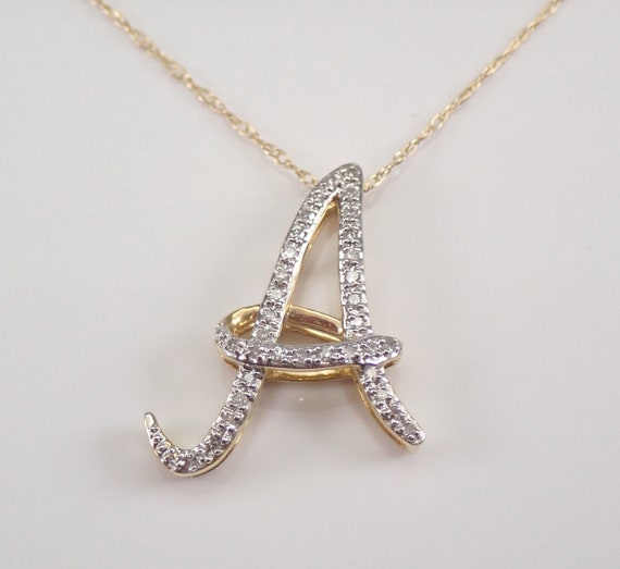 "Yellow Gold Diamond INITIAL A Pendant 18"" Necklace Chain Personalized Gift"