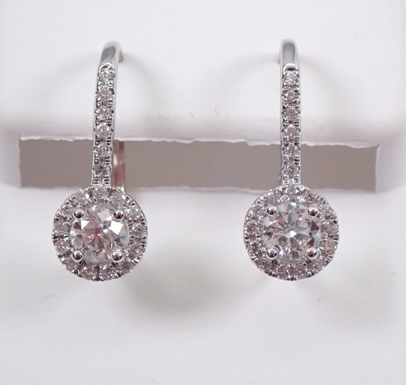14K White Gold 1.00 ct Diamond Cluster Halo Drop Earrings Leverback Wedding Gift