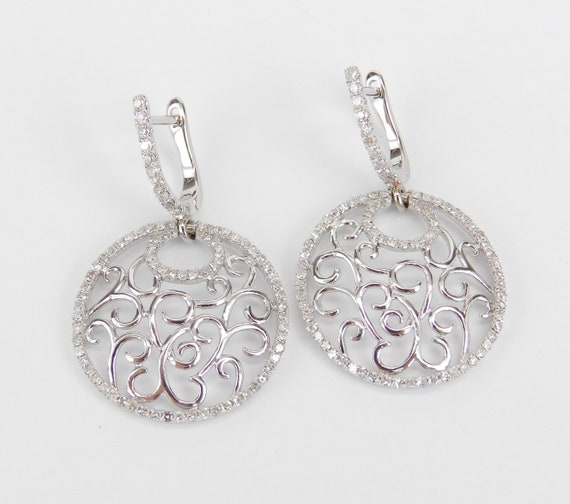 Diamond Earrings, Filigree Earrings, Dangle Earrings, Circle Earrings, 18K White Gold Earrings, Wedding Gift, Antique Style Earrings