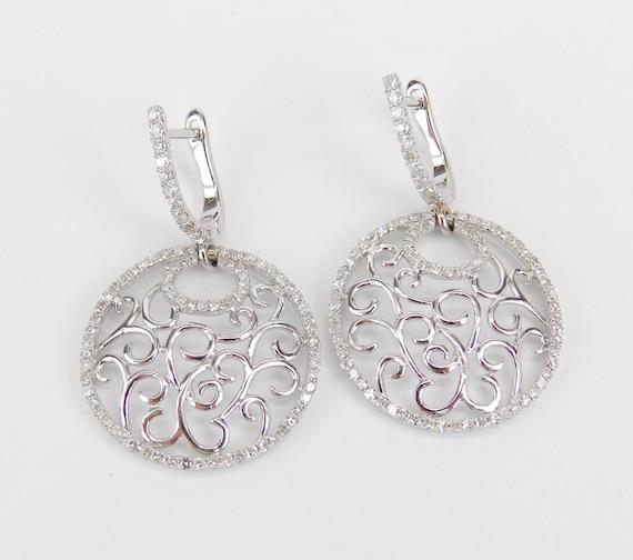 Diamond Earrings, Filigree Earrings, Dangle Earrings, Circle Earrings, 18K White Gold Earrings, Wedding Gift, Antique Style Earrings