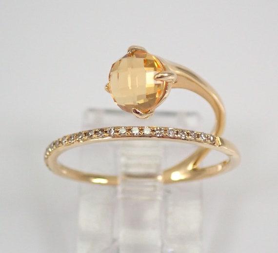 Citrine and Diamond Wraparound Ring Crossover Design 14K Yellow Gold Size 7 November Gemstone