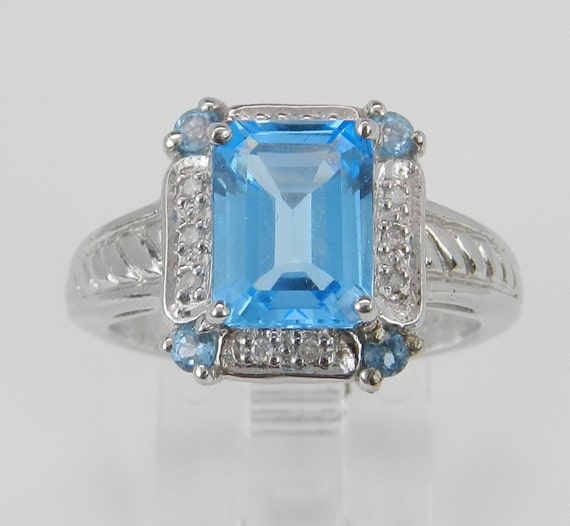 Emerald Cut Blue Topaz and Diamond Halo Promise Ring Engagement Ring White Gold Size 7 FREE Sizing