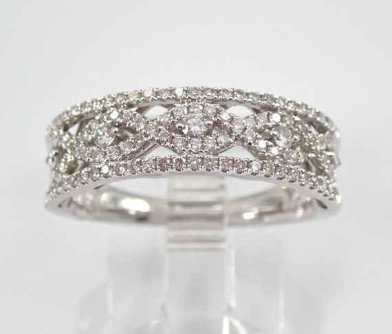 14K White Gold .70 ct Diamond Wedding Ring Anniversary Band Stackable Infinity Design Size 7