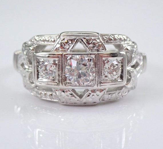 Antique Art Deco Diamond Three Stone Anniversary Ring 14K White Gold Band Size 7 Circa 1920's