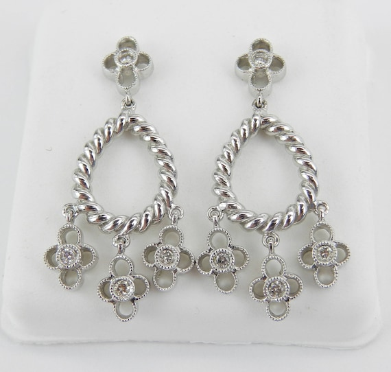 Diamond Earrings 14K White Gold Chandelier Dangle Drop Flower Wedding Earrings