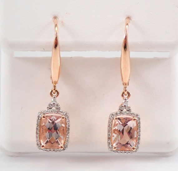 Cushion Cut Morganite and Diamond Halo Earrings 14K Rose Pink Gold Leverback