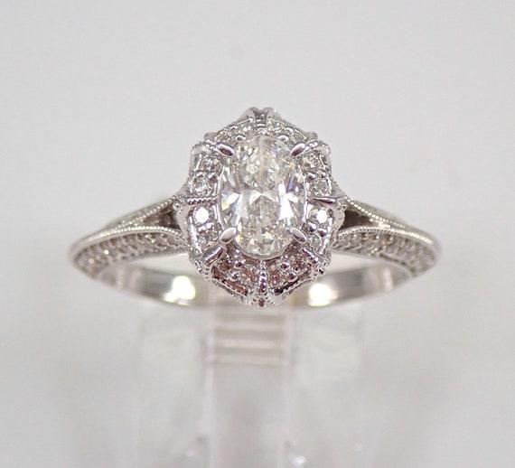 Vintage Style 14K White Gold 1.00 ct Oval Diamond Halo Engagement Ring Size 7 FREE SIZING