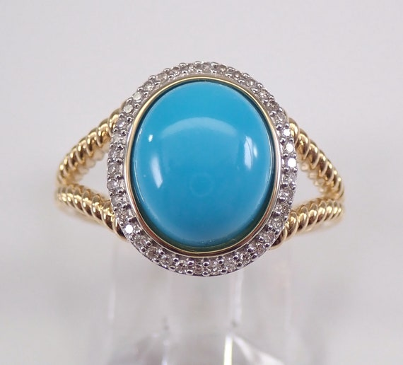 Turquoise and Diamond Halo Ring 14K Yellow Gold Cushion Cut Sleeping Beauty Teal Color FREE Sizing