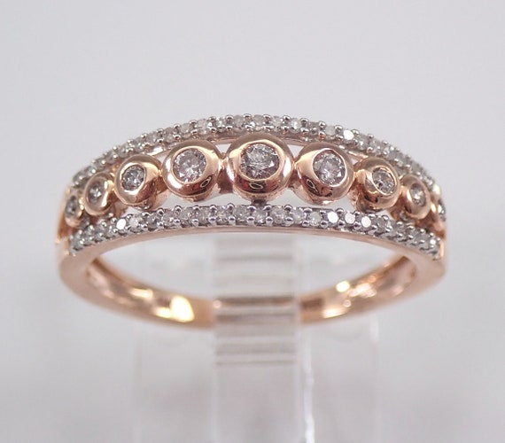 Diamond Multi Row Wedding Ring Anniversary Band Rose Gold Size 7 Stackables