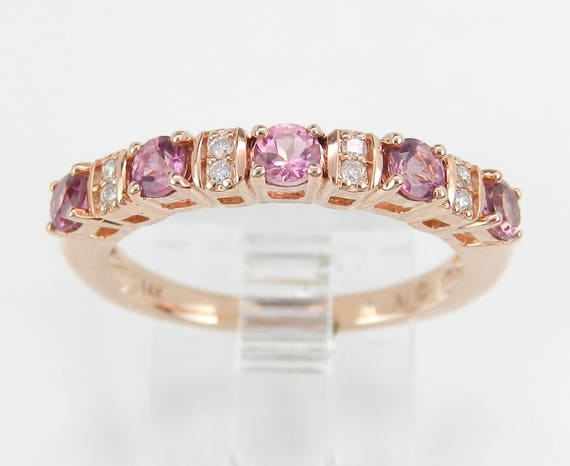 Diamond and Pink Tourmaline Wedding Ring Anniversary Band 14K Rose Gold Size 7