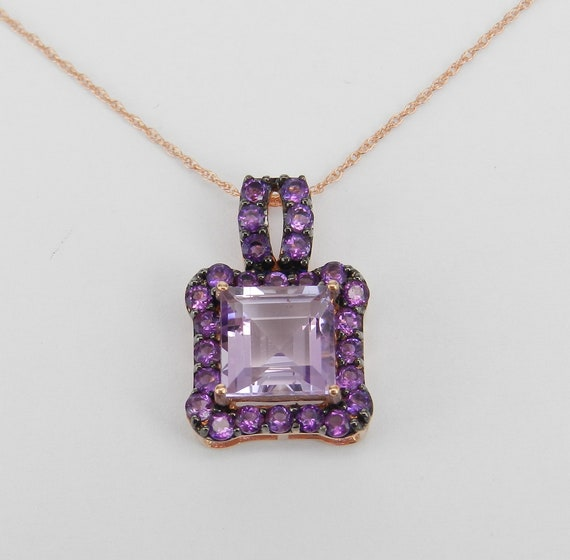 "4.00 ct Princess-Cut Amethyst Halo Pendant Necklace 18"" Chain 14K Rose Gold February Gemstone"