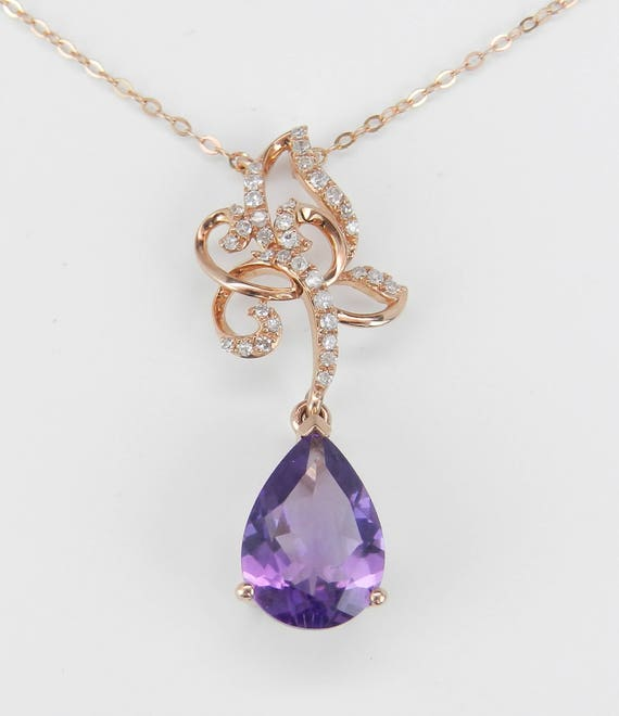 "Diamond and Amethyst Drop Necklace Purple Pendant 18"" Rose Gold Chain February Birthstone"