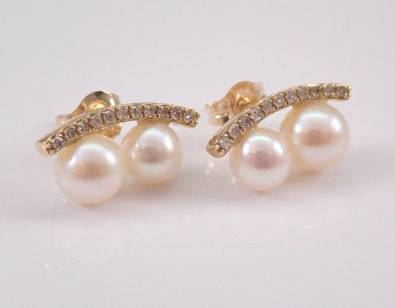 Pearl and Diamond Stud Earrings Yellow Gold June Birthday Wedding Gift