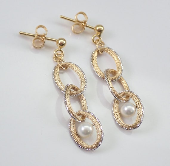 Pearl Dangle Drop Earrings 14K Yellow Gold June Birthday Wedding Gift