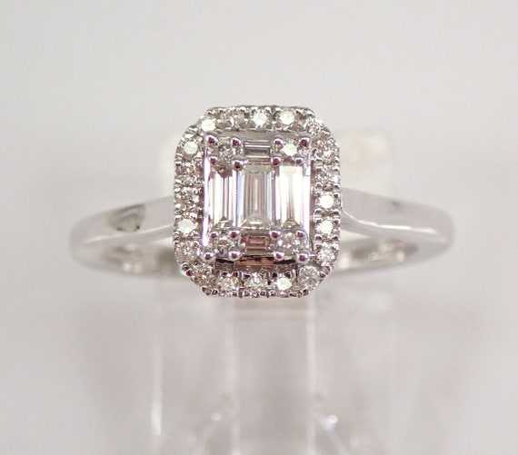 White Gold Emerald Cut Diamond Halo Engagement Ring Cluster Solitaire Size 6 3/4 FREE Sizing