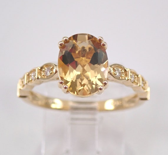Yellow Beryl and Diamond Engagement Ring 14K Yellow Gold Size 7 FREE SIZING