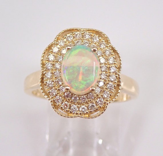 14K Yellow Gold Diamond and Opal Halo Engagement Ring Size 7.25 October Gemstone FREE Sizing