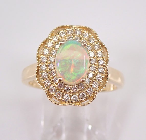 14K Yellow Gold Diamond and Opal Halo Engagement Ring Size 7.25 October Gemstone FREE Sizing