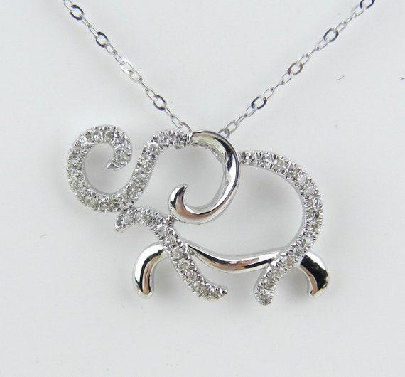 "14K White Gold Diamond ELEPHANT Pendant Necklace Chain 18"" Good Luck Animal Jewelry"