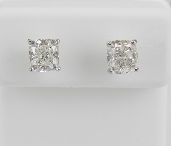 Diamond Stud Earrings, Cushion Cut Studs, 14K White Gold Studs, White Gold Earrings, 2.20 ct Diamond Studs, Martini Setting