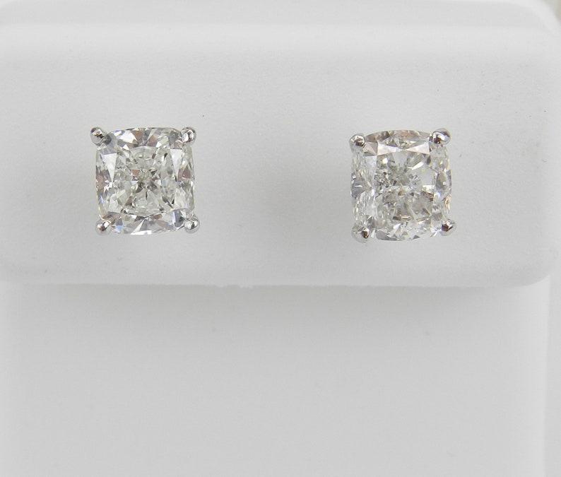 ad22e545e Diamond Stud Earrings Cushion Cut Studs 14K White Gold | Etsy