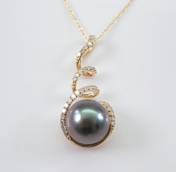 "14K Yellow Gold Diamond and Black Tahitian Pearl Drop Pendant Necklace Chain 18"" June Birthday"