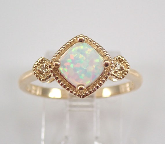 Yellow Gold Opal and Diamond Engagement Ring Size 7 Cushion Cut October Birthstone FREE Sizing