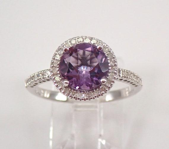 Diamond and Amethyst Halo Engagement Ring White Gold Size 7 February Gemstone