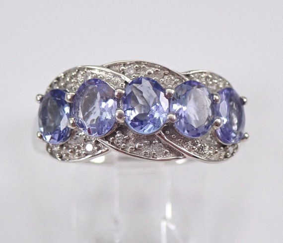 Tanzanite and Diamond Wedding Ring Stackable Anniversary Band White Gold Size 7 December Birthstone
