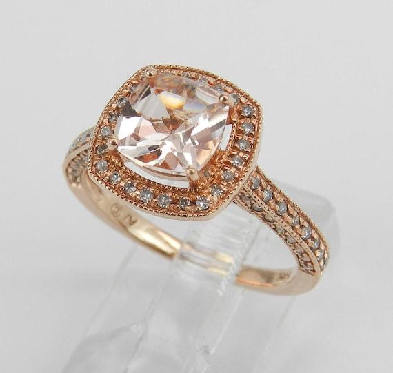 SUPER SALE! Morganite and Diamond Halo Engagement Ring 14K Rose Gold Size 7 Cushion Cut FREE Sizing