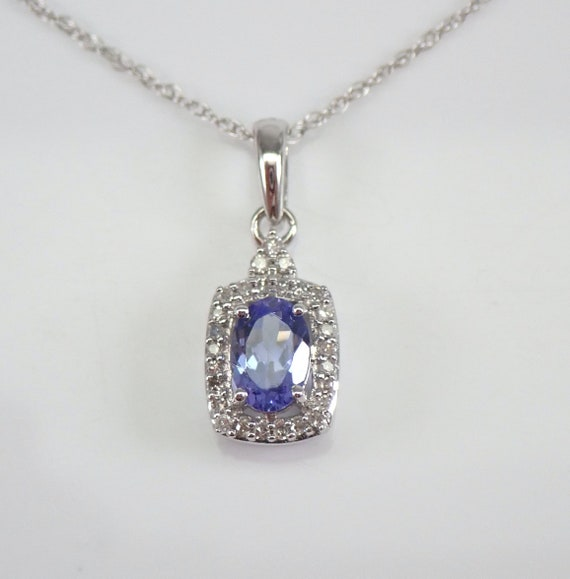 "Diamond and Tanzanite Halo Pendant Necklace White Gold 18"" Chain Purple Gemstone"