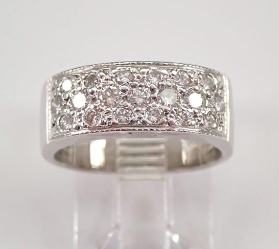 Vintage Estate Platinum Diamond Wedding Ring Anniversary Band Size 4.25