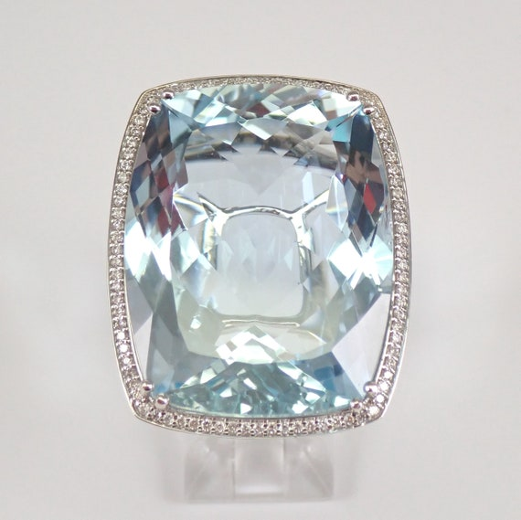 14K White Gold 60.44 ct Diamond and Cushion Cut Aquamarine Halo Engagement Ring One of a KIND
