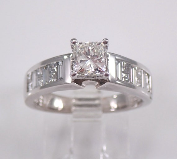 18K White Gold 1.20 ct Princess-Cut Diamond Engagement Ring Size 5.5