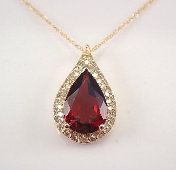 "Diamond and Garnet Halo Pendant Teardrop Necklace 14K Yellow Gold 18"" Chain January Birthstone"