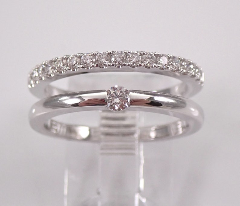 18K White Gold Diamond Multi Row Ring Modern Fashion image 0
