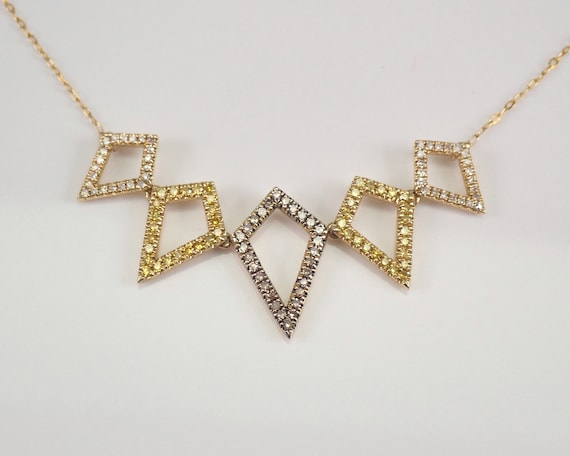 """Cognac Canary and White Diamond Necklace 14K Yellow Gold 17"""" Chain Geometric Design"""